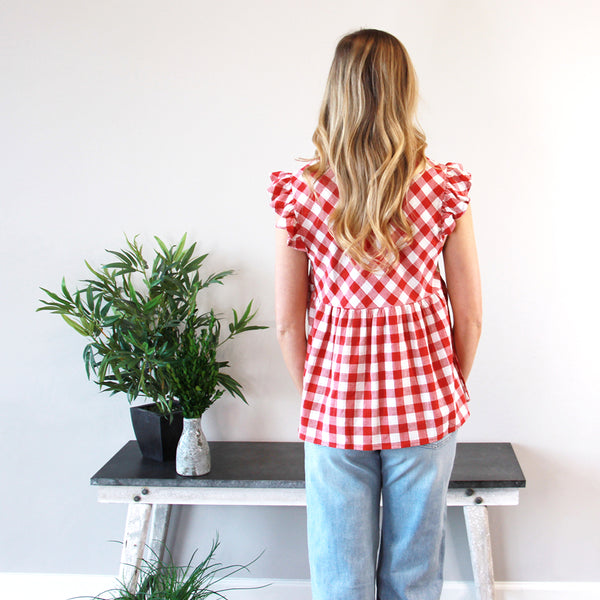 Daisy Gingham Top Red