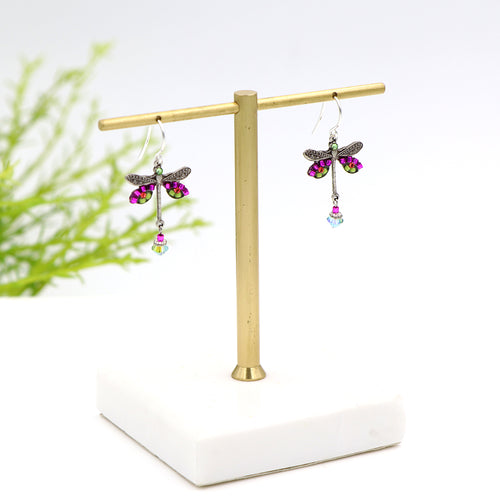 Firefly Dragonfly Earrings Fuchsia