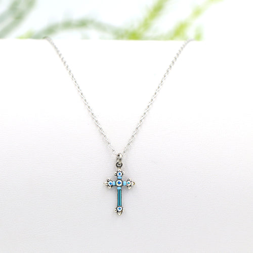Firefly Petite Cross Necklace Aqua