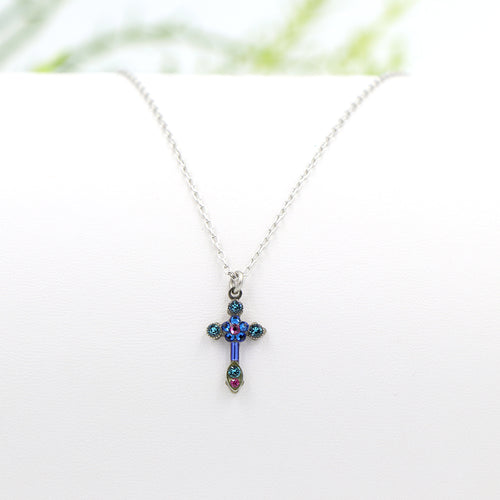 Firefly Petite Cross Necklace Blue