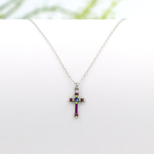 Firefly Petite Cross Necklace Fuchsia