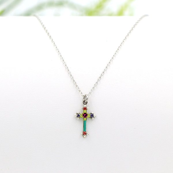 Firefly Petite Cross Necklace Multi