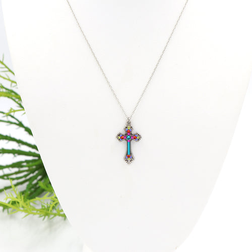 Firefly Teresa Cross Necklace Multi
