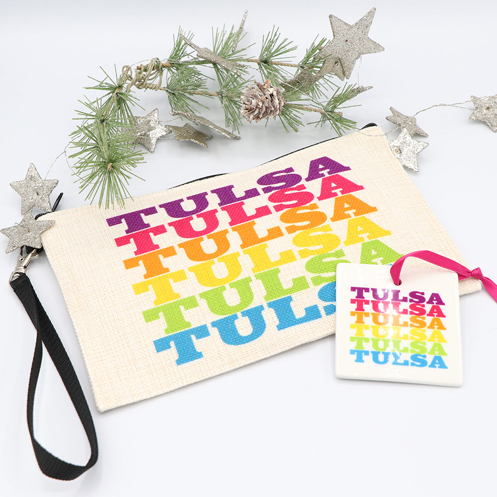 Rainbow Tulsa Ornament and Pouch
