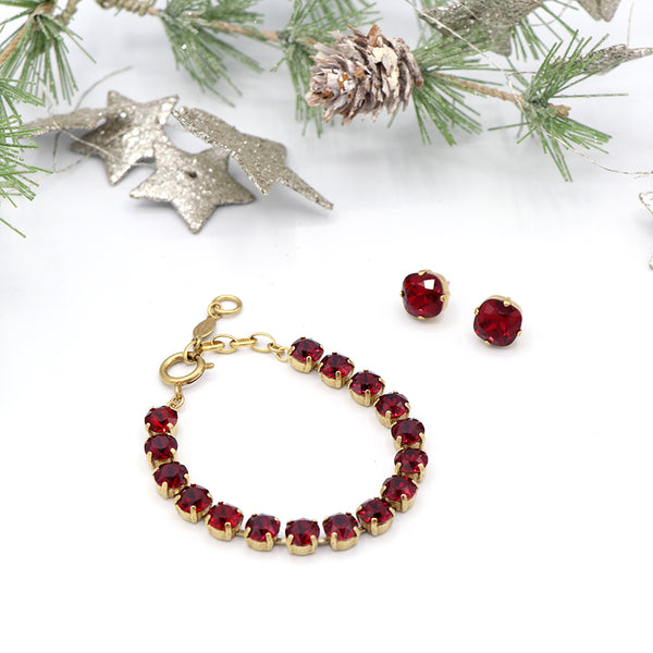 La Vie Parisienne Lovely Red Bracelet and Earrings