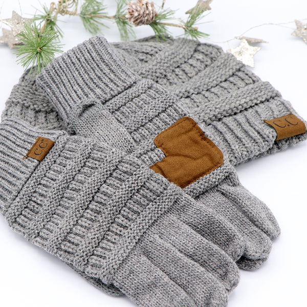 CC Beanie and Gloves Gray