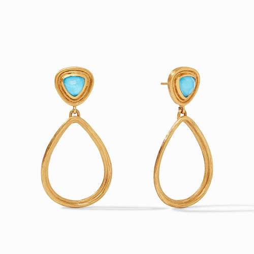Julie Vos Barcelona Statement Earring Iridescent Pacific Blue