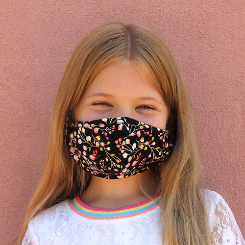 Kids Face Mask - Black Floral