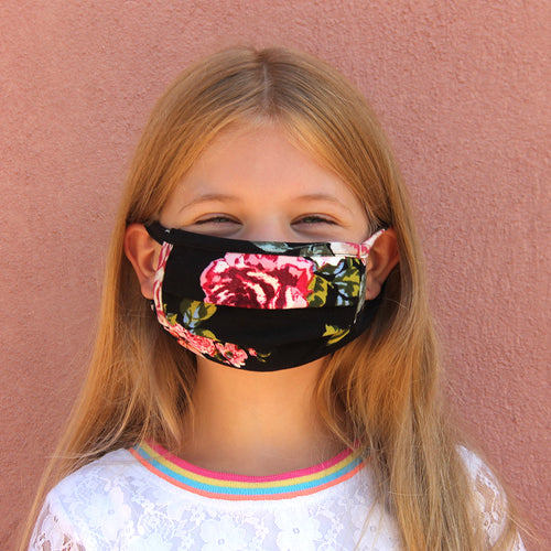 Kids Face Mask - Black Roses