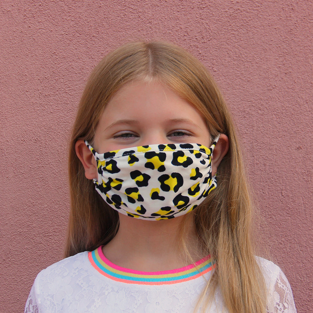 Kids Face Mask - Black & Gold Cheetah