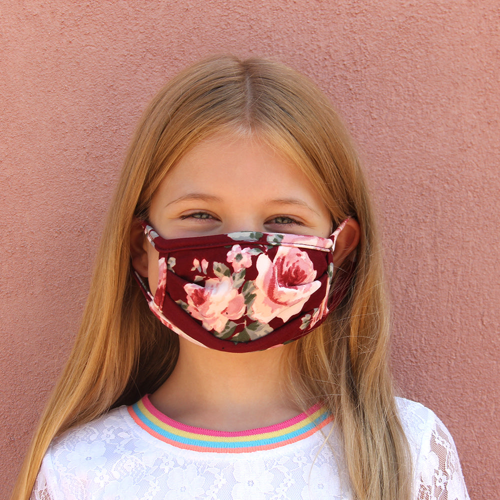 Kids Face Mask - Burgundy Floral