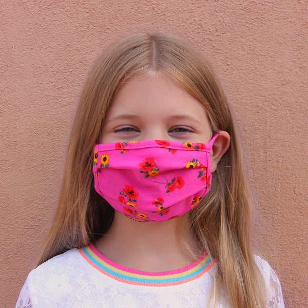Kids Face Mask - Hot Pink Blossom