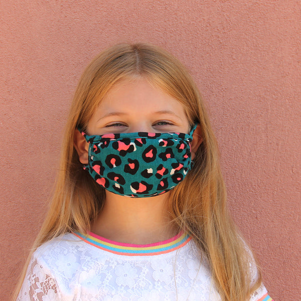 Kids Face Mask - Teal Cheetah