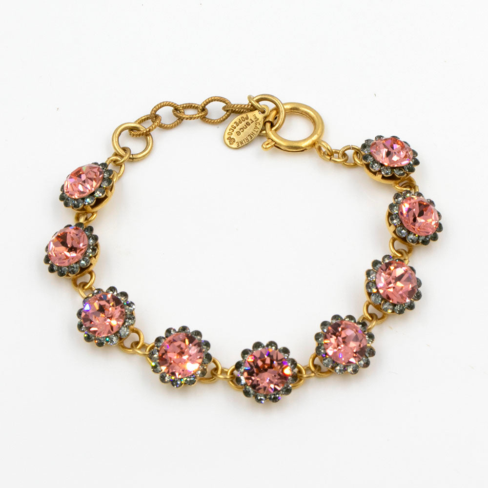 La Vie Parisienne Light Peach Flower Bracelet in Gold