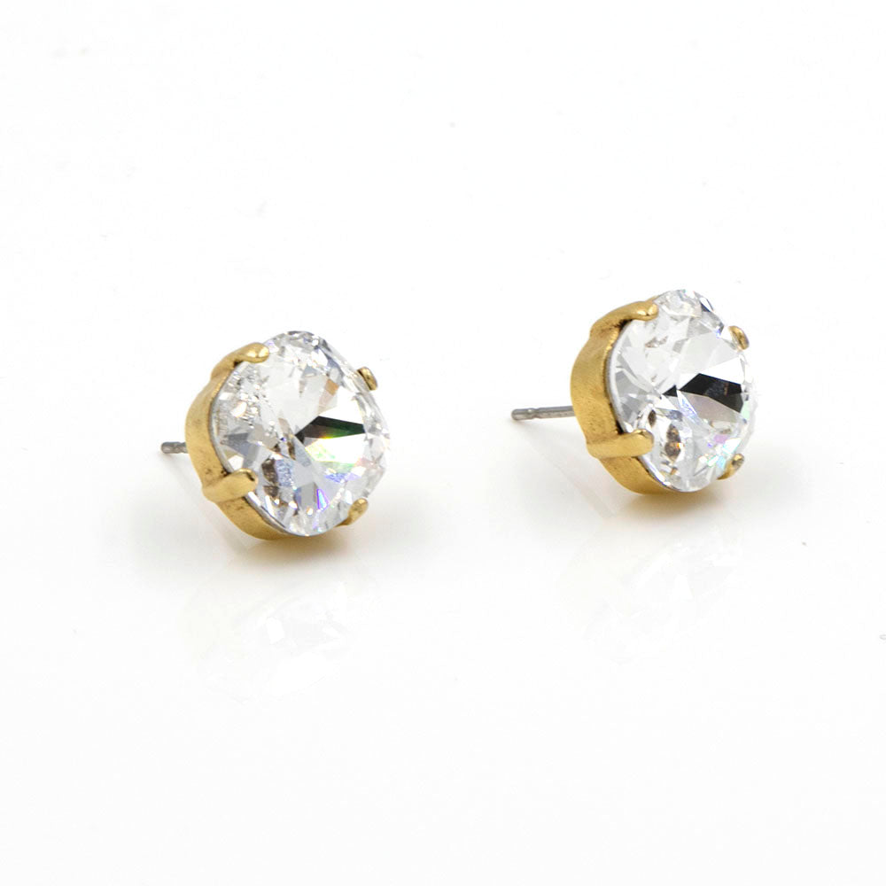 La Vie Parisienne Stud Earrings Clear with Gold