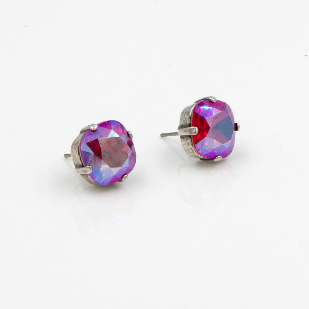 La Vie Parisienne Stud Earrings Fuschia AB with Silver