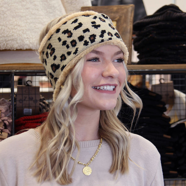 Leopard Fleece Head Wrap Natural