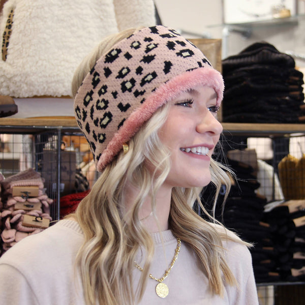Leopard Fleece Head Wrap Pink