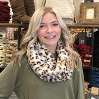 Leopard Fur Infinity Scarf White