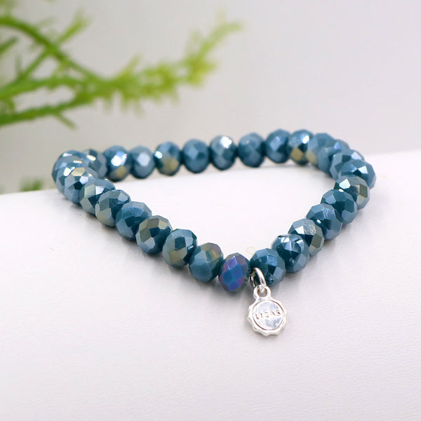 Lizas 8mm Crystal Bracelet: Blue Ocean