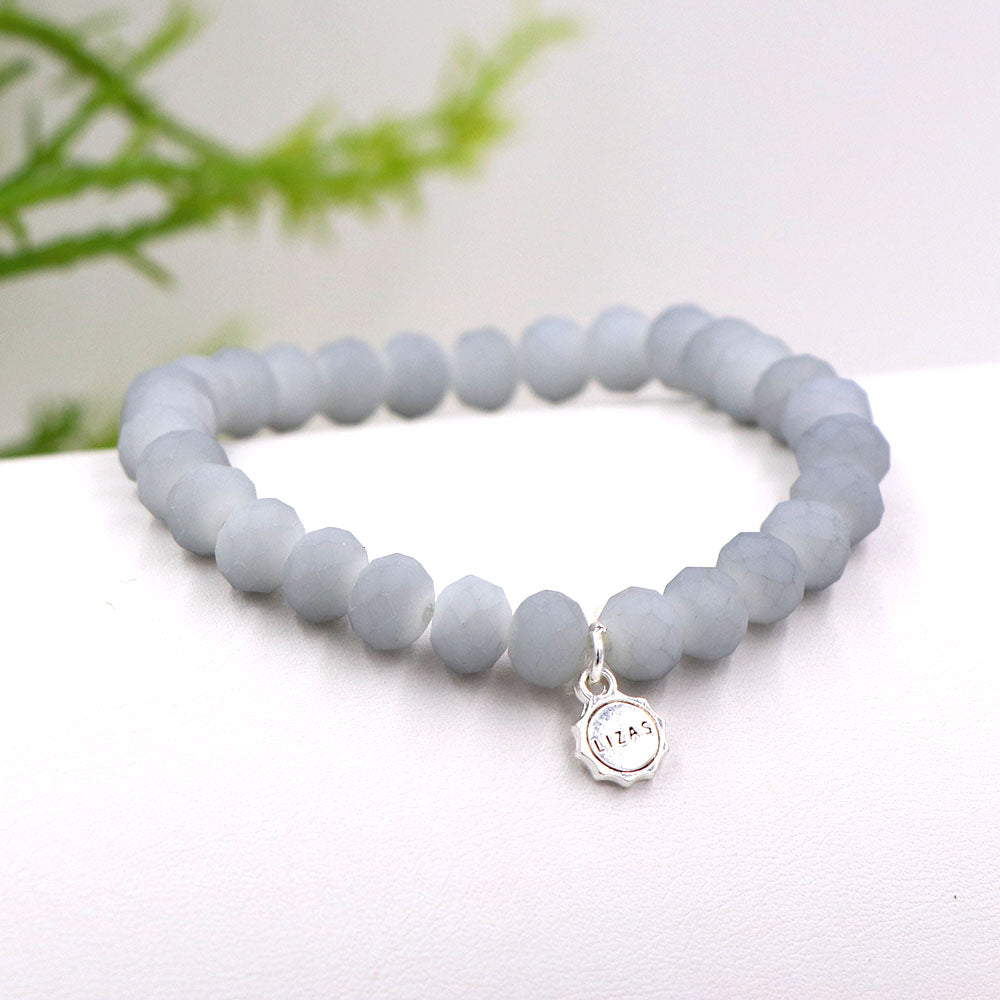 Lizas 8mm Crystal Bracelet: Light Matte Gray