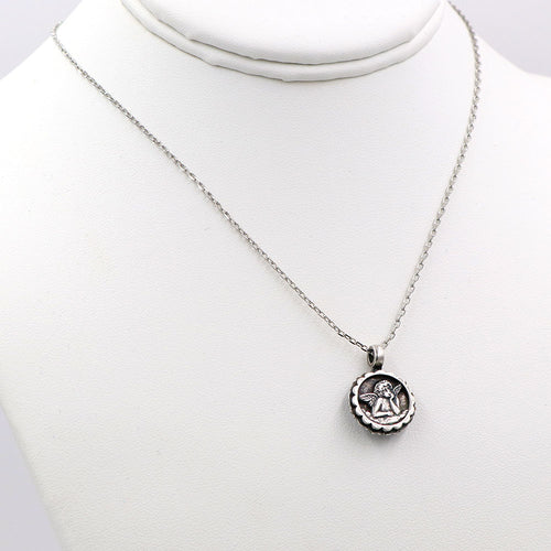 Mariana Guardian Angel Necklace Silver: Light Rose