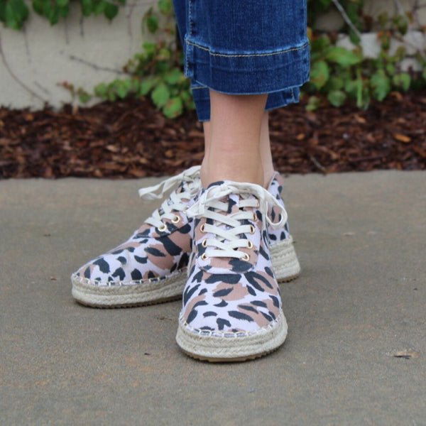 Qupid Multi Leopard Canvas Sneaker