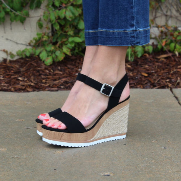 Soda Wedge Sandal - Black