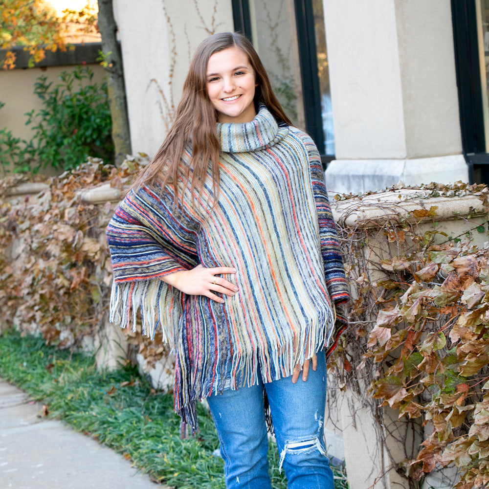 Molly Striped Cowl Neck Poncho Dark