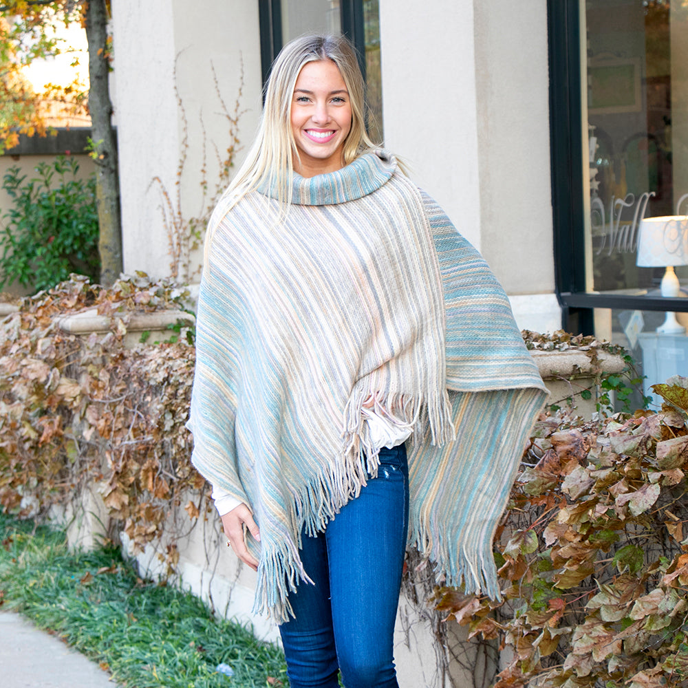 Molly Striped Cowl Neck Poncho Light