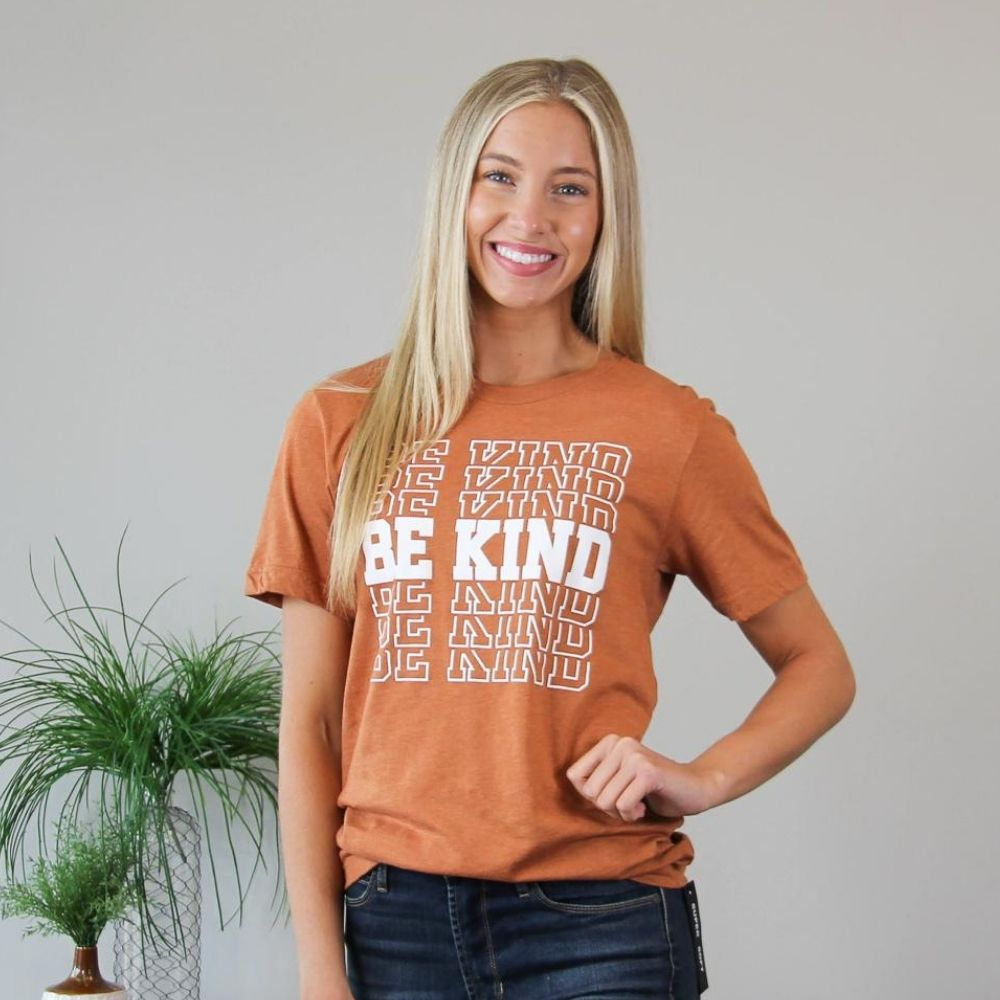 Be Kind Block Letter Tee - Orange