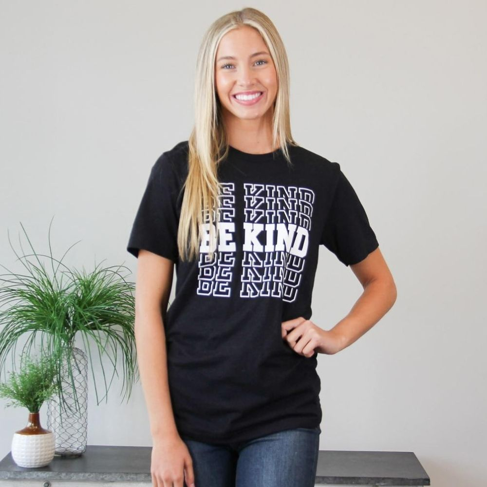 Be Kind Block Letter Tee - Black