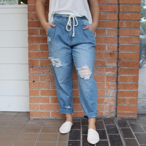 Drawstring Light Wash Jeans