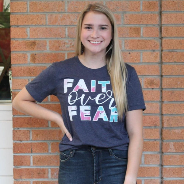 Faith over Fear Navy Tee