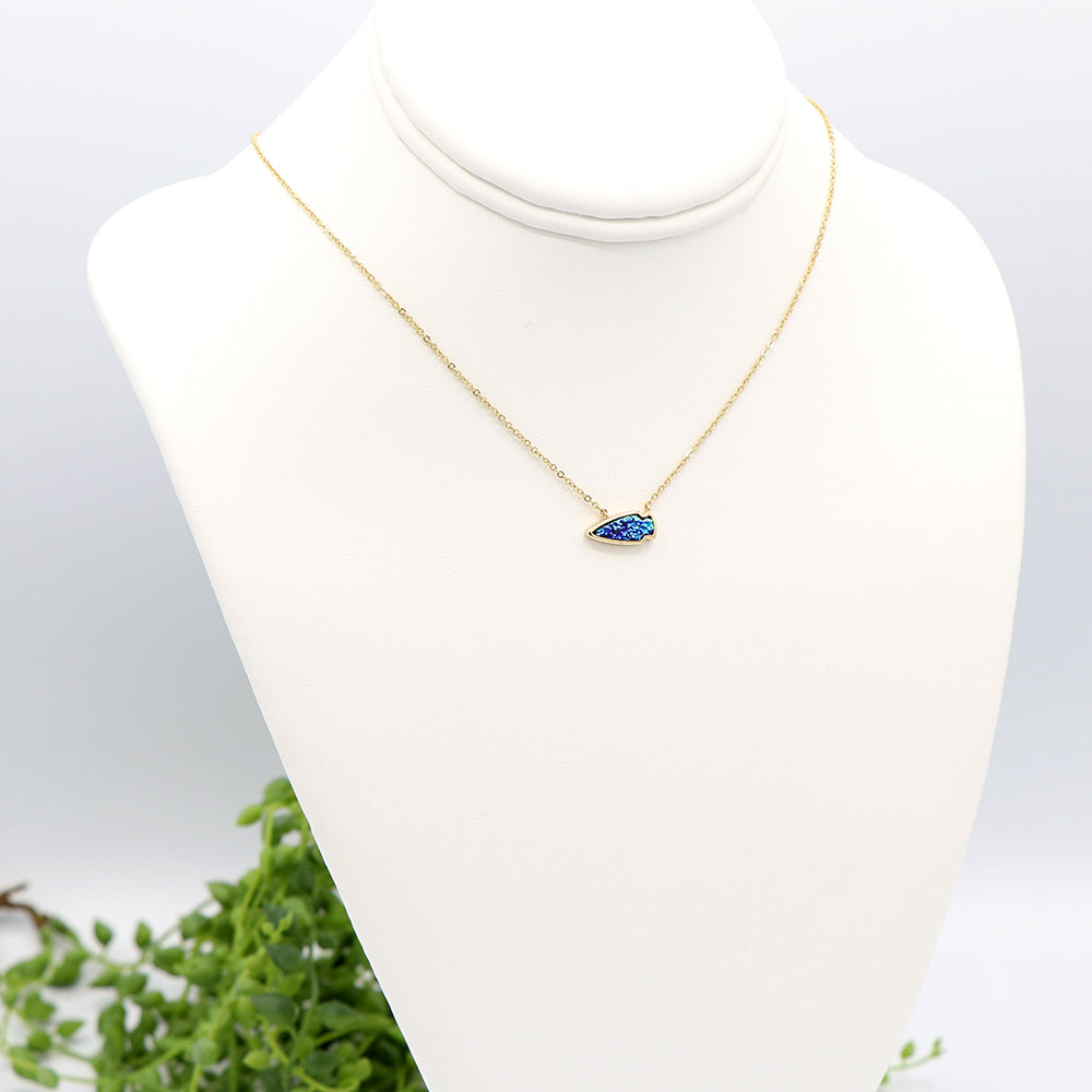 Petite Arrowhead Druzy Necklace Teal