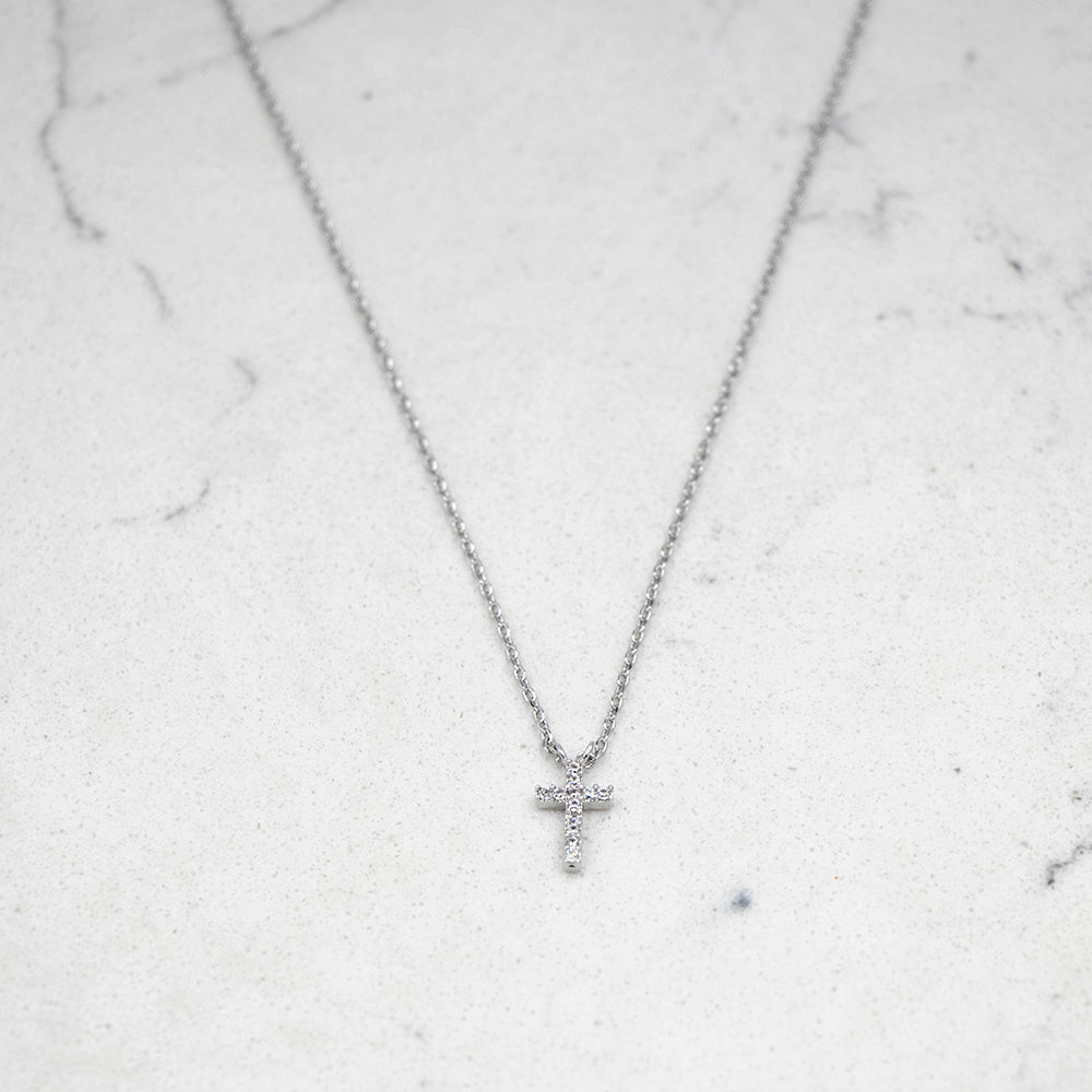 Petite Crystal Cross Necklace Silver