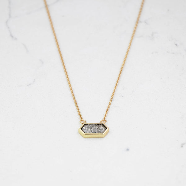 Petite Druzy Geo Necklace Black Diamond