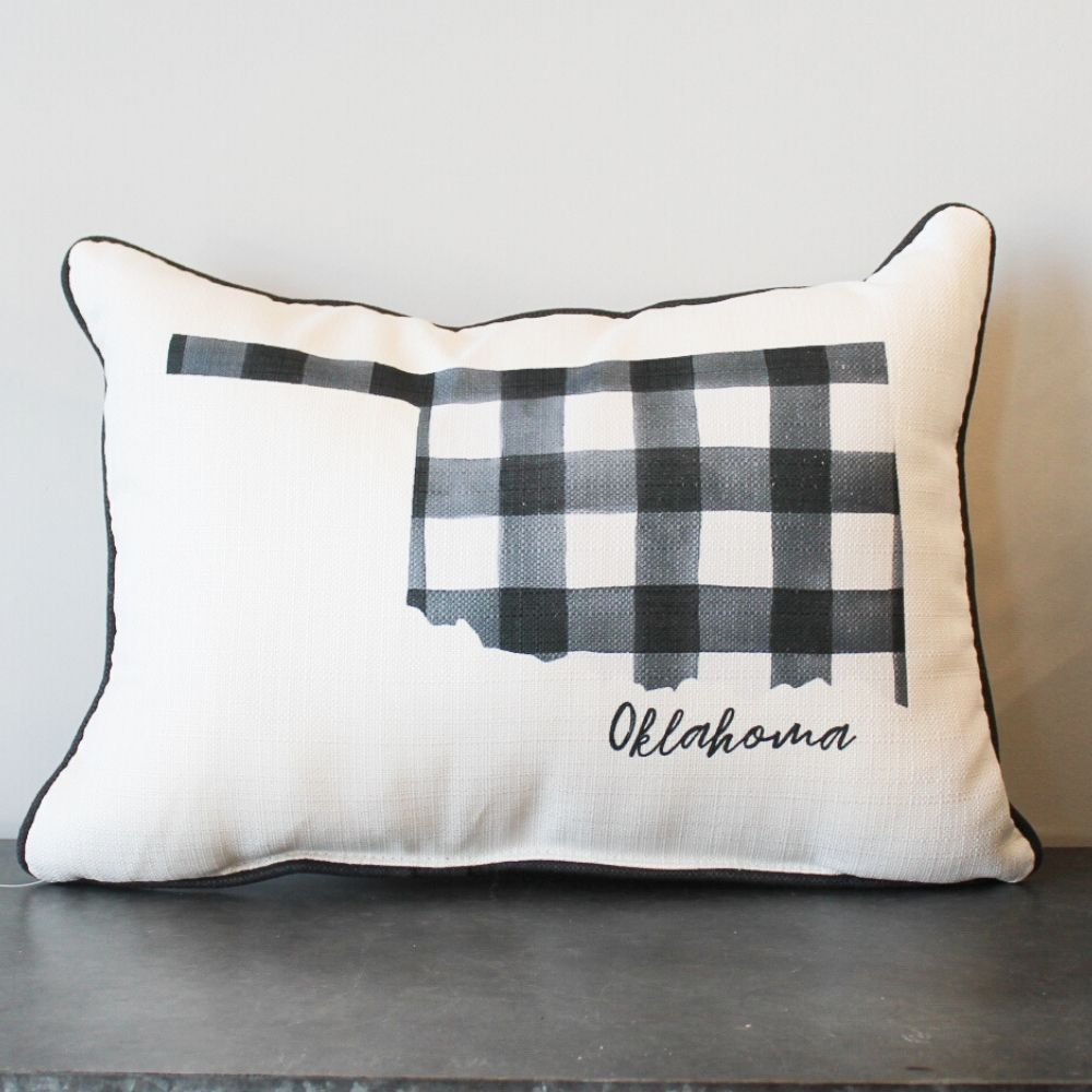Oklahoma State Outline Check Pillow