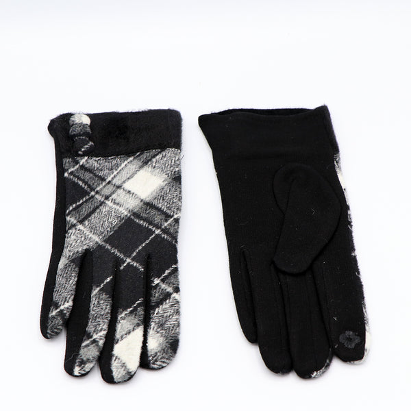 Plaid Button Gloves Black