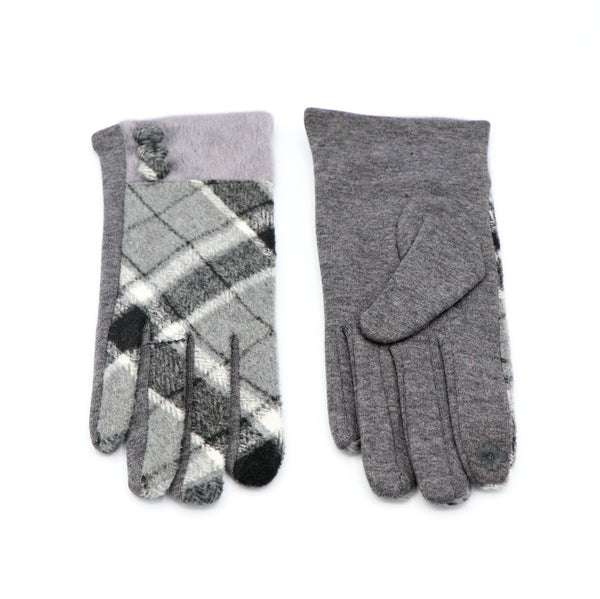 Plaid Button Gloves Gray