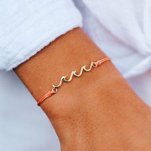 Pura Vida Delicate Wave Bracelet Salmon with Gold
