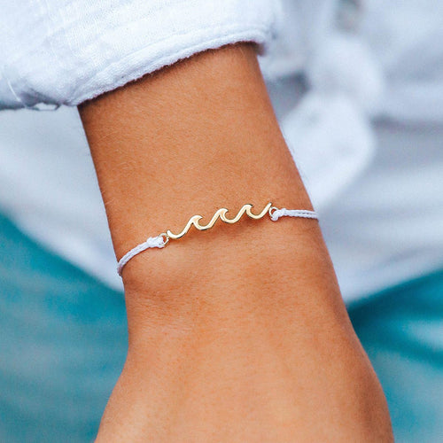 Pura Vida Delicate Wave Bracelet White with Gold