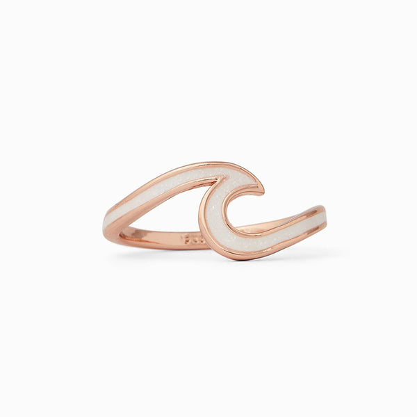 Pura Vida Enamel Wave Ring Rose Gold