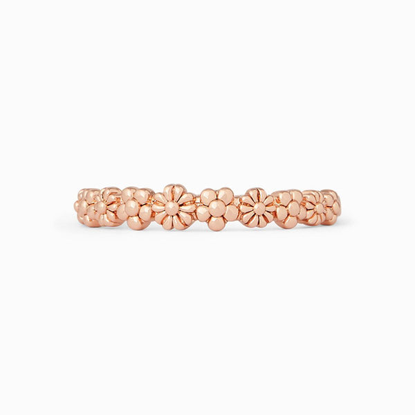 Pura Vida Floral Stacking Band Rose Gold