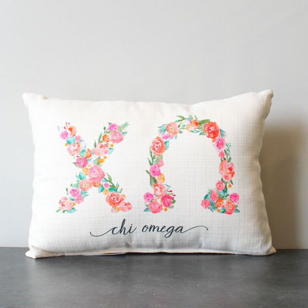 Chi Omega Floral Pillow