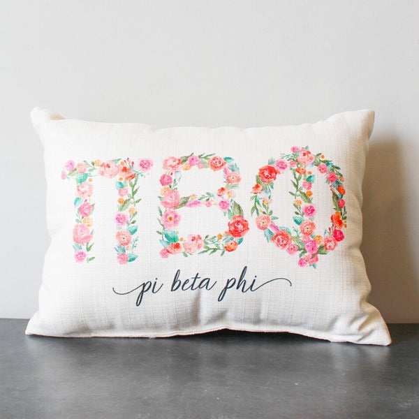 Pi Beta Phi Floral Pillow