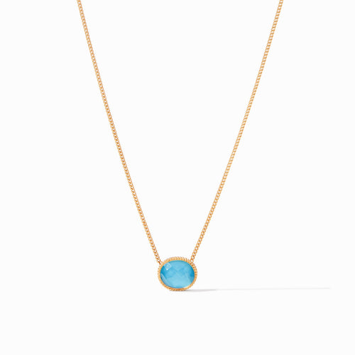 Julie Vos Verona Solitaire Necklace Iridescent Pacific Blue