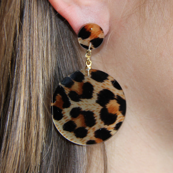 Zenzi Leopard Circle Drop Earring