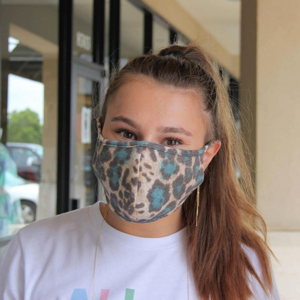 Face Mask - Blue Leopard