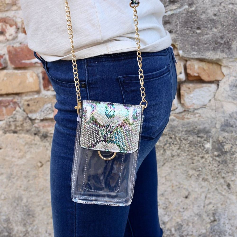 Caroline Hill: Sideline Clear Cell Phone Holder Snake Multi Hologram